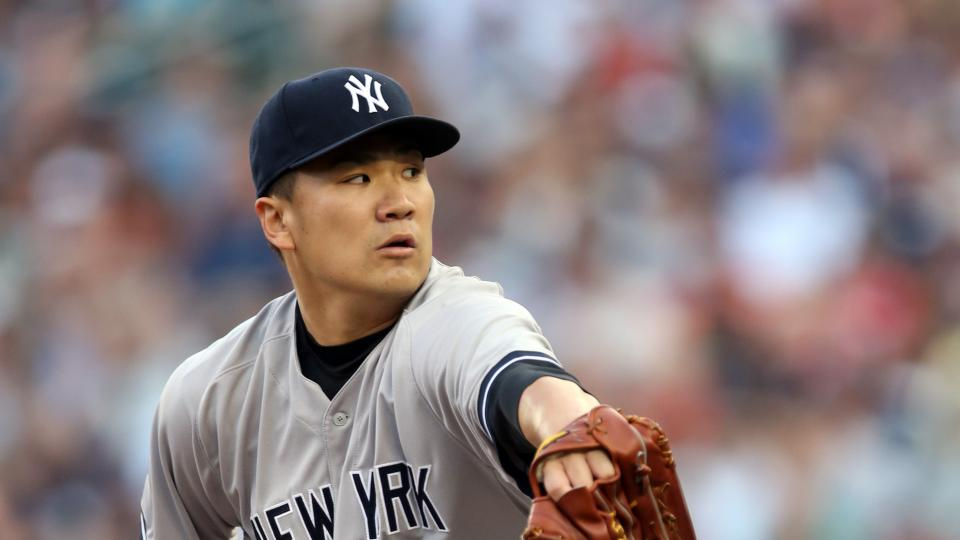 New York Yankees pitcher Masahiro Tanaka throws against the Minnesota Twins in the first inning of a baseball game, Thursday, July 3, 2014, in Minneapolis. (AP Photo/Jim Mone)