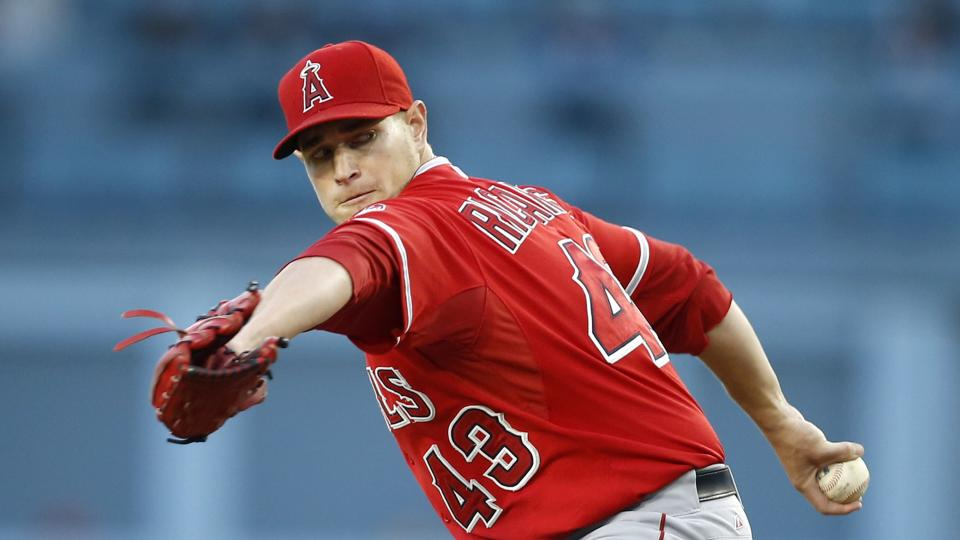 Los Angeles Angels starting pitcher Garrett Richards delivers against the Los Angeles Dodgers during the first inning of a baseball game, Monday, August 4, 2014, in Los Angeles. (AP Photo/Danny Moloshok)