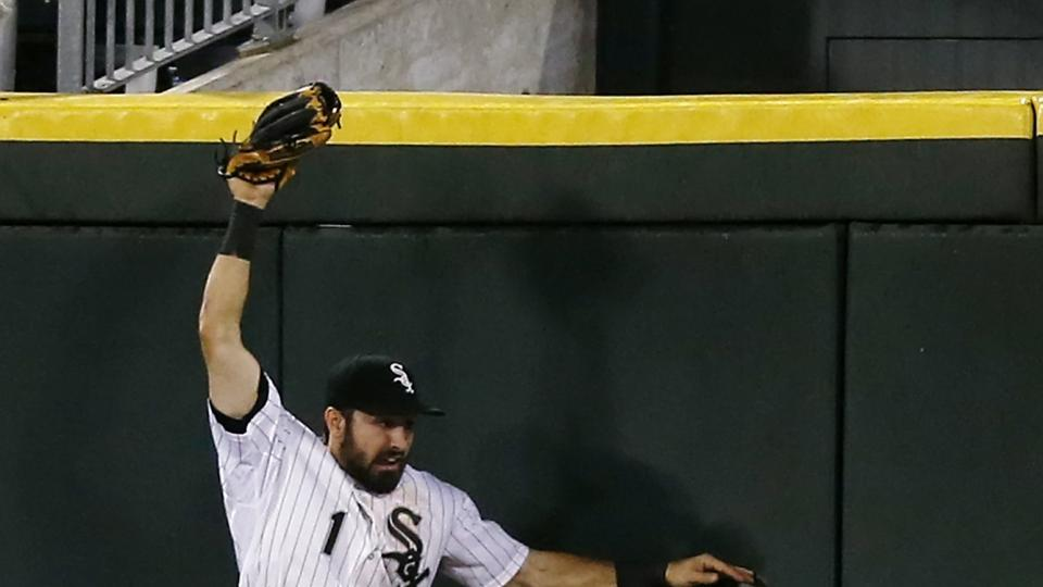 Chicago White Sox center fielder Adam Eaton catches a ball hit by the Texas Rangers' Adrian Beltre during the fifth inning of a baseball game on Monday, Aug. 4, 2014, in Chicago. (AP Photo/Andrew A. Nelles)