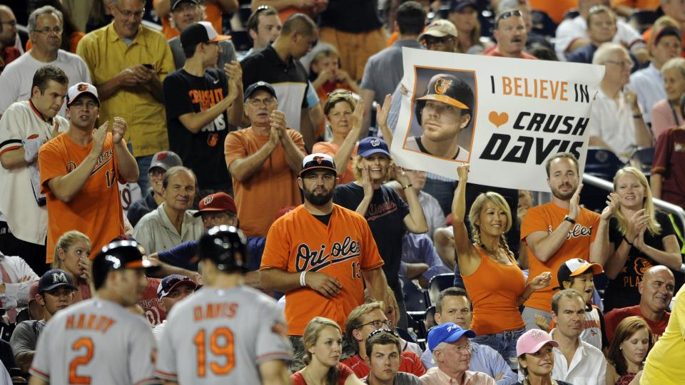 Baltimore Orioles fans show their support as Baltimore Orioles' J.J. Hardy (2) and Chris Davis go towards the dugout after they scored on a a single by Caleb Joseph during the eighth inning of a baseball game against the Washington Nationals, Monday, Aug.