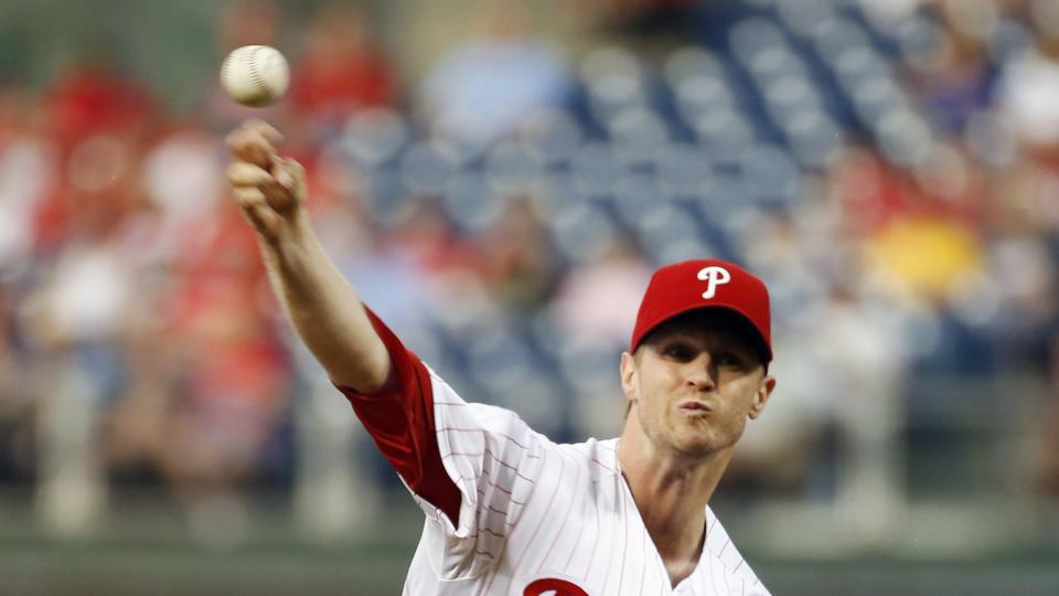 Philadelphia Phillies' Kyle Kendrick pitches during the first inning of an interleague baseball game against the Houston Astros, Tuesday, Aug. 5, 2014, in Philadelphia. (AP Photo/Matt Slocum)
