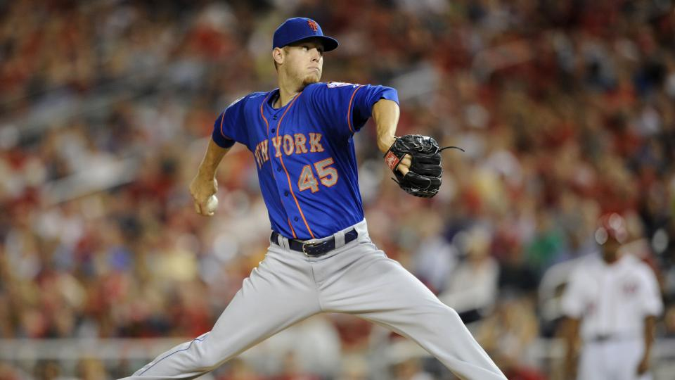 New York Mets starting pitcher Zack Wheeler delivers to the Washington Nationals during the fifth inning of a baseball game, Tuesday, Aug. 5, 2014, in Washington. (AP Photo/Nick Wass)