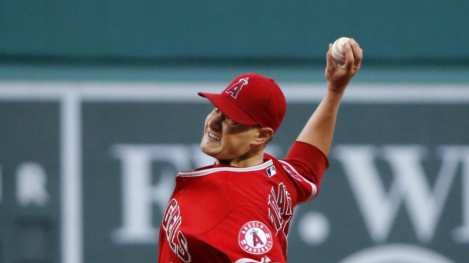 Los Angeles Angels starting pitcher Garrett Richards delivers to the Boston Red Sox in the first inning of a baseball game at Fenway Park in Boston, Wednesday, Aug. 20, 2014. (AP Photo/Elise Amendola)