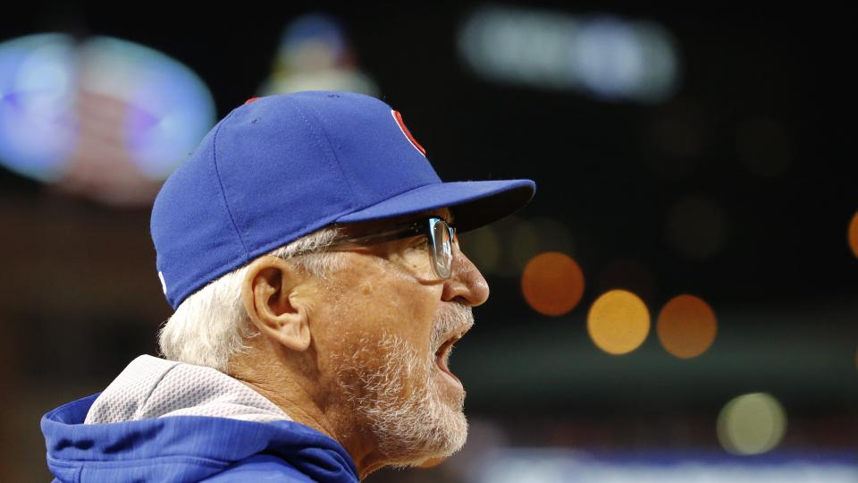 Chicago Cubs manager Joe Maddon yells at the umpire during the eighth inning of Game 1 in baseball's National League Division Series against the St. Louis Cardinals, Friday, Oct. 9, 2015, in St. Louis. (AP Photo/Charles Rex Arbogast)