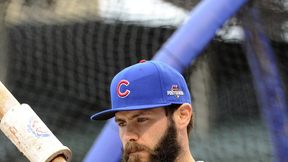 Chicago Cubs starting pitcher Jake Arrieta waits to take batting practice during a workout in preparation for Game 1 of baseball's National League Championship Series in Chicago, Thursday, Oct. 15, 2015. (AP Photo/David Banks)