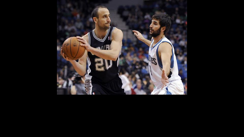 Minnesota Timberwolves' Ricky Rubio, from Spain, guards San Antonio Spurs guard Manu Ginobili (20), from Argentina during the second quarter in an NBA basketball game at the Target Center on in Minneapolis on Tuesday, April 8, 2014. (AP Photo/Hannah Fosli