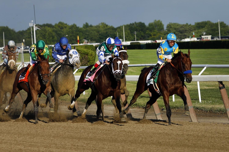 American Pharaoh winning the Belmont Stakes