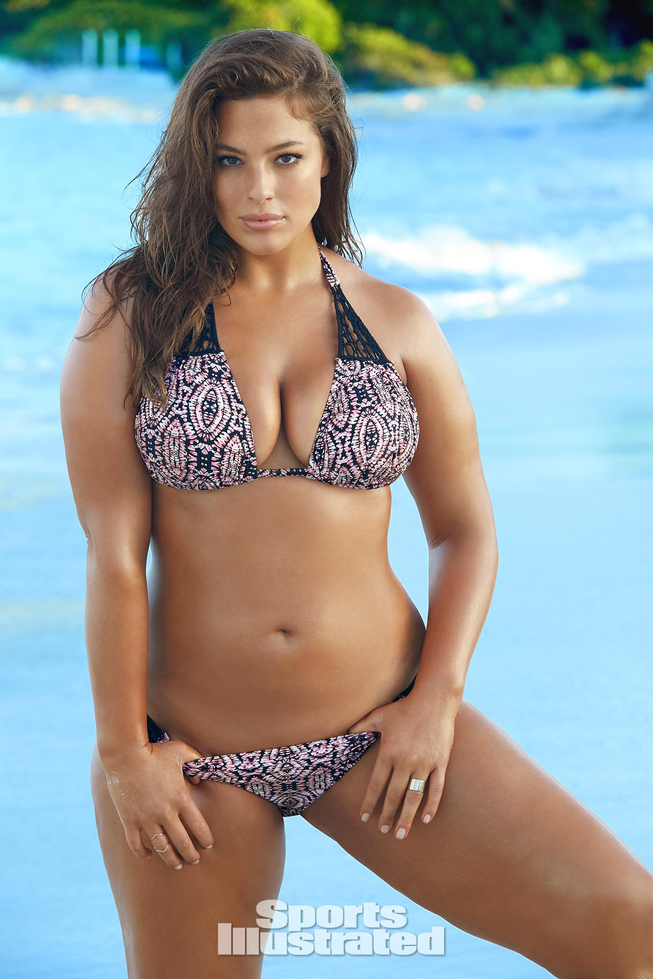Ashley Graham was photographed by James Macari in Turks & Caicos. Swimsuit by Swimsuitsforall.