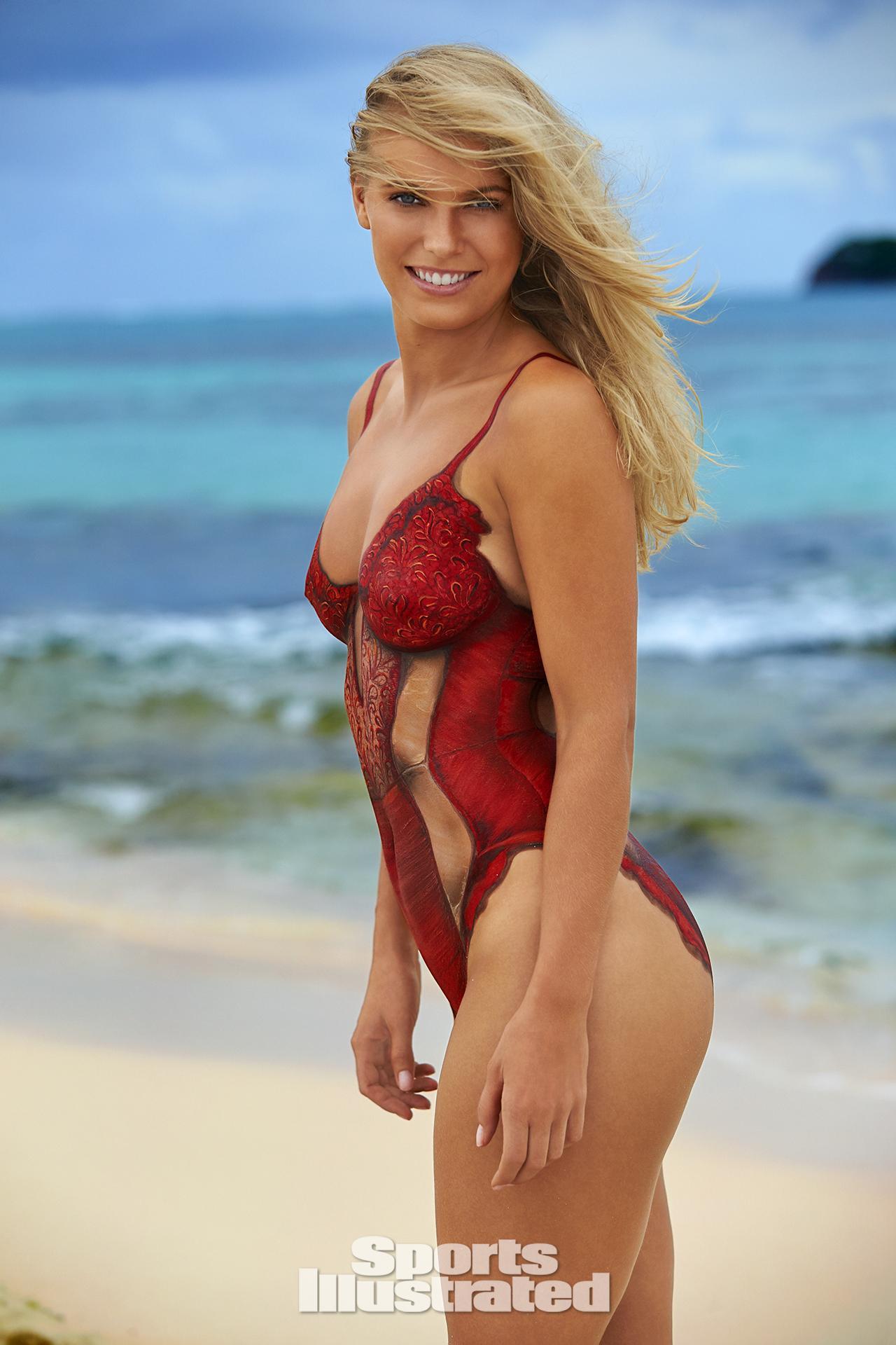 Caroline Wozniacki Swimsuit Body Paint Photos, Sports Illustrated ...