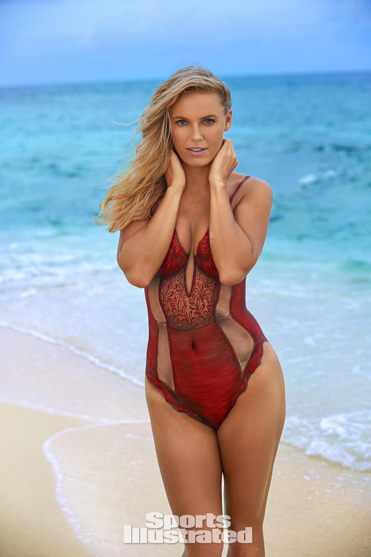 ... Wozniacki Swimsuit Body Paint Photos, Sports Illustrated Swimsuit 2016