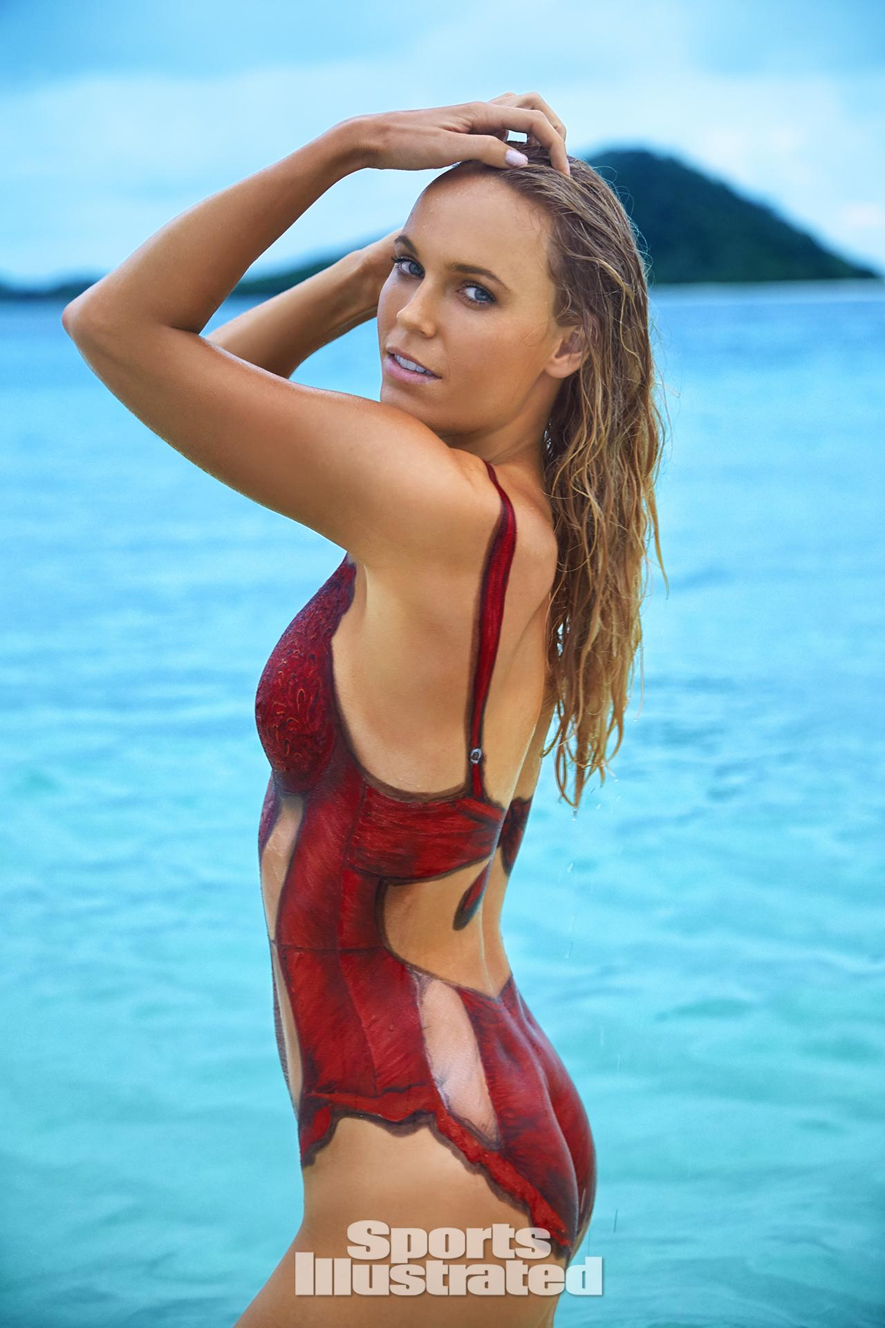 caroline wozniacki swimsuit body paint photos sports illustrated