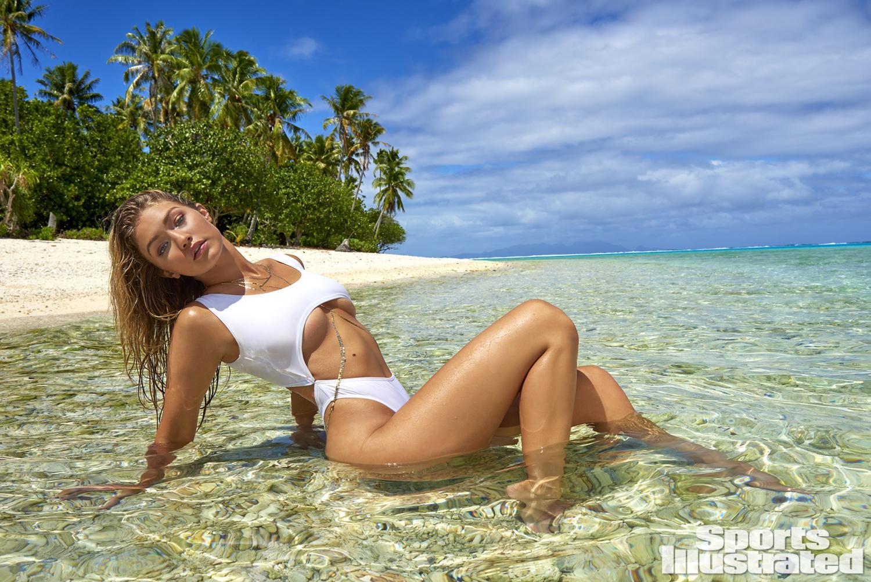 Gigi Hadid was photographed by Yu Tsai in The Islands Of Tahiti. Swimsuit by Lola & Lamar.