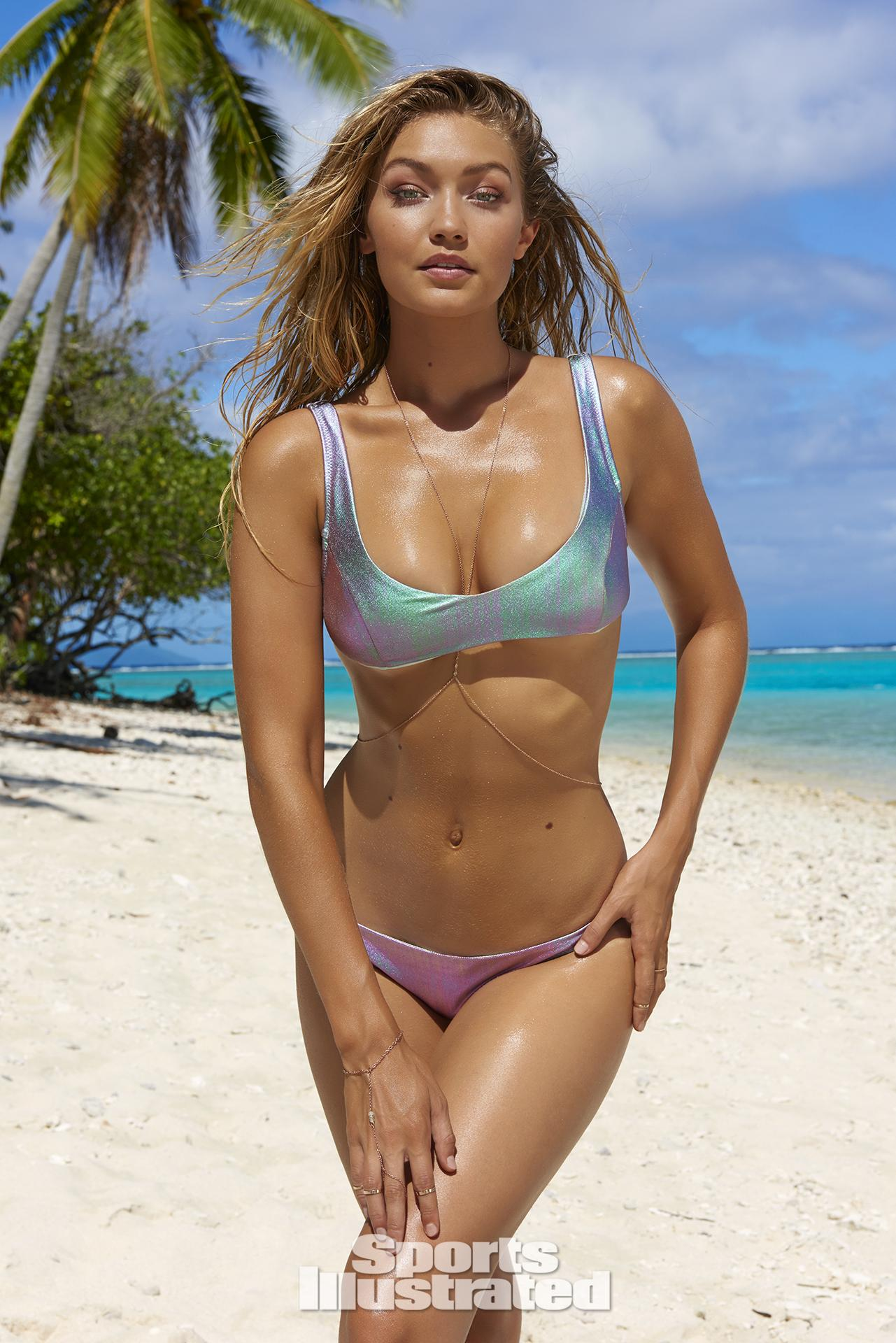 Gigi Hadid was photographed by Yu Tsai in The Islands Of Tahiti. Swimsuit by Nasty Gal.