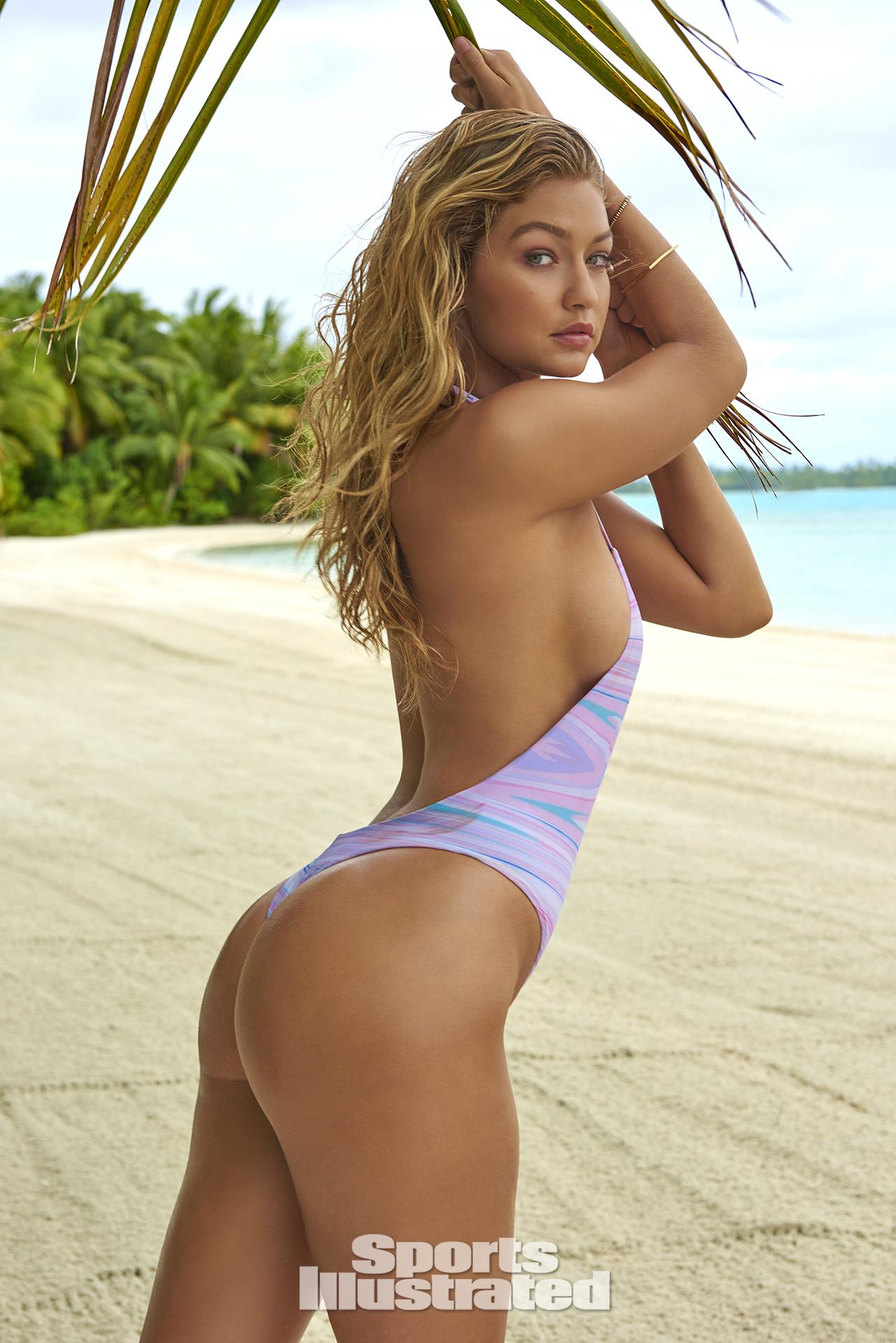 Gigi Hadid was photographed by Yu Tsai in The Islands Of Tahiti. Swimsuit by Alati Swim.