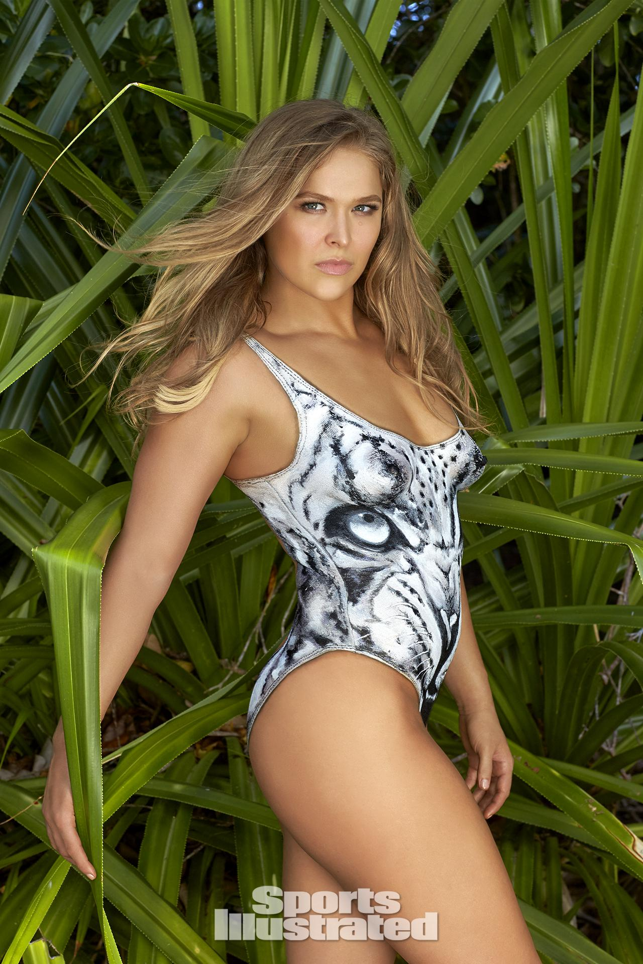 Ronda Rousey was photographed by Frederic Pinet in Petit St. Vincent. Swimsuit inspired by We Are Handsome.