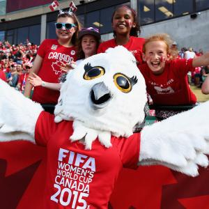 Shuéme, the 2015 FIFA Women's World Cup official mascot, roams the sidelines at Commonwealth Stadium in Edmonton.