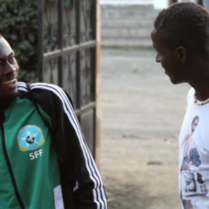 Sa'ad Hussein and Saadiq Mohammed in Nakuru, Kenya, at the CECAFA Cup tournament in December 2013.