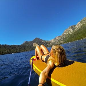 Kicked back and relaxed enjoying this epic view! #SUP #LakeTahoe @gopro