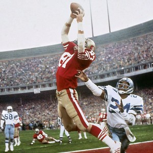One of the most famous plays in NFL history, Dwight Clark's leaping, fingertip touchdown grab of a Joe Montana pass—forever known as