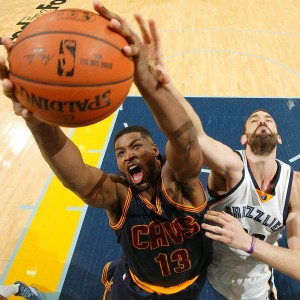 Tristan Thompson of the Cleveland Cavaliers grabs a rebound of the Memphis Grizzlies' Marc Gasol in Memphis. Thompson pulled down a game-high 11 rebounds in a 111-89 Cavaliers win.