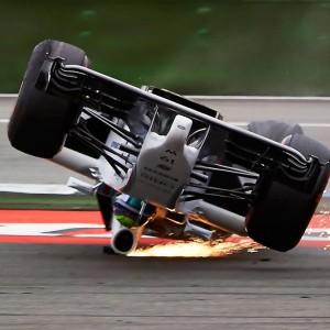 Felipe Massa flips his car going around the first corner at the the German Grand Prix in Hockenheim.