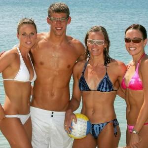 Amanda Beard, Michael Phelps, Jenny Thompson and Natalie Coughlin