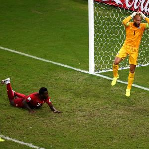 Tim Howard reacts after Silvestre Varela of Portugal scored the tying goal in the fifth minute of stoppage time. The 2-2 tie prevented the U.S. from clinching a spot in the Round of 16.