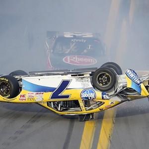 Regan Smith flips on the front stretch in the NASCAR Xfinity Series race at Daytona International Speedway.