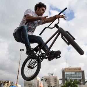 BMX freestyler Bassel Swayden grabs air during Urban Culture in Beirut, Lebanon on Saturday, June 7, 2014.