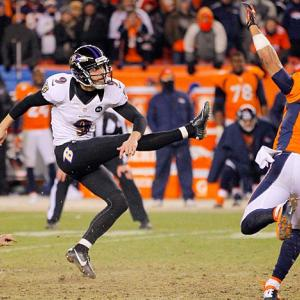 (Twelve shots from every game, beginning with Ravens-Broncos.) Justin Tucker watches the flight of his 47-yard game-winning field goal in the second overtime against Denver. The victory put the Ravens in the AFC Championship game.