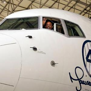 In a fitting scene, Yankees closer Mariano Rivera ? who has said goodbye to cities, teams, and players all season on his pre-retirement farewell tour ? waves from the cockpit of a Delta Airlines special 757 Aircraft dedicated to him at JFK Airport on July 12.