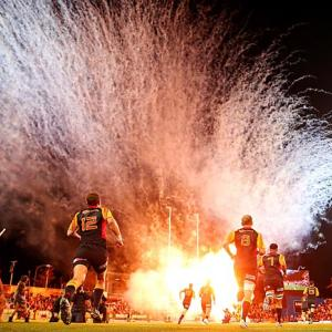 The Chiefs run out on the field for the Super Rugby Final against the Brumbies at Waikato Stadium on Aug. 3 in Hamilton, New Zealand.