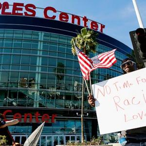 On April 29, NBA commissioner Adam Silver banned Clippers owner Donald Sterling for life and fined him $2.5 million for making racist comments in a recorded conversation. Later in the day, Los Angeles hosted the Warriors in Game 5 of a first-round playoff series. Staples Center fans weren't shy about expressing their support for the NBA's ruling and backing the Clippers, who won 113-103 to take a 3-2 lead in the best-of-seven series.