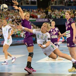 Heidi Loke of Hungary's Gyori Audi ETO KC shoots against Denmark's FC Midtjylland at the European Handball Federation Women's Champions League Final Four in Budapest.