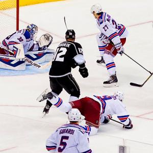 SI's best photos from Game 2 of the Stanley Cup Finals in which the Los Angeles Kings won 5-4 in double overtime over the New York Rangers on this goal by Dustin Brown.