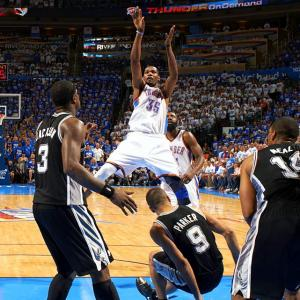 While no NBA team has come back from a 3-0 deficit to win a best-of-seven playoff series, eight have rallied from 3-1 and 15 from 2-0. (Six clubs have won a best-of-five series after dropping the first two games.) The Thunder joined that 15-team list when, after losing back-to-back games in San Antonio, they ripped off four consecutive victories. Kevin Durant-led Oklahoma City's comeback was made all the more impressive by the fact that the top-seeded Spurs had won 20 games in a row entering Game 3 of the series.