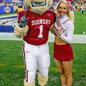 Meet Emily, a sophomore at Oklahoma and proud member of the Sooners cheer squad. When she's not on the field or studying marketing (her major), Emily enjoys rocking out to country music and playing golf. Wanna find out more about this Boomer Sooner? Click on the 20 Questions link below.