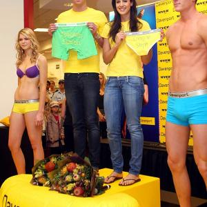 The Olympics are over, but athletes managed to keep busy this week. Swimmers Stephanie Rice and Eamon Sullivan made an in-store appearance for Davenport Underwear in Brisbane, Australia.