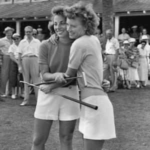Marlene Bauer Hagge (left) wins the LPGA World Golf Championship.