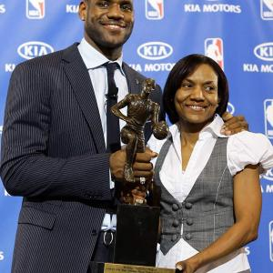 LeBron James and his mother, Gloria, after his MVP award ceremony at Akron's St. Vincent-St. Mary High School.