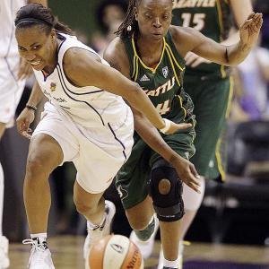 The acquisition of free-agent point guard Shannon Johnson (pictured) was supposed to provide Sue Bird occasion to let loose her scoring potential. Instead, it's had the added benefit of enhancing Bird's powers of playmaking. She leads the league in assists with 7.4 per game. That's a near one assist improvement on the career-high 6.5 apg she set in her second season, in 2003. Next three: 6/26 vs. Los Angeles; 6/28 at Los Angeles; 7/1 at Phoenix