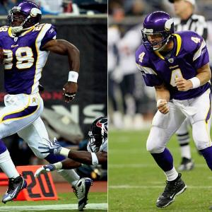 Adrian Peterson scored on the game's first play with a 75-yard run and finished with 117 yards rushing.  In his second game since unretiring again less than two weeks ago, Brett Favre was 13 of 18 for 142 yards with a touchdown pass.