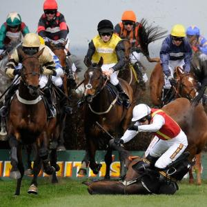 Khachaturian's fall unseats jockey Jason Maguire in the Mildmay Novices' Steeple Chase during the second day of The Grand National Meeting at Aintree Racecourse on April 9 in Liverpool, England. Both horse and jockey were unhurt.