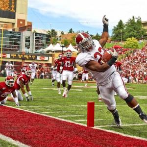 Alabama running back Mark Ingram tiptoes his way down the sidelines and into the end zone for a 54-yard touchdown run. The No. 1 ranked Alabama Crimson Tide defeated the Arkansas Razorbacks 24-20 at Donald W. Reynolds Stadium in Fayetteville, Ark..