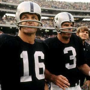 Both a quarterback and kicker throughout his lengthy 26-year career, the late George Blanda (16) is shown here with Daryle Lamonica (3) and Kenny Stabler (background). Blanda helped Oakland with both his arm and leg during 1970, throwing for six touchdown passes while knocking in 16 field goals.