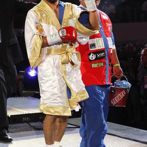 The favored Pacquiao was all smiles during Saturday's ringwalk, coming out to AC/DC's