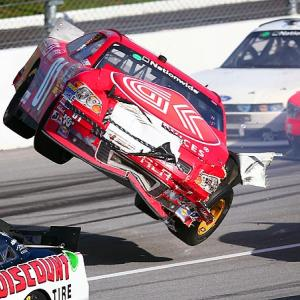 NASCAR Nationwide Series driver Mike Wallace crashes the No. 1 G&K Services car in his quest to win the Aaron's 312 at Talladega Superspeedway.