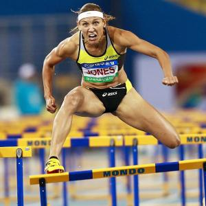 American hurdler Lolo Jones sports a look of determination as she hurdles her way to a third-place finish in the women's 100-meter hurdles at the Daegu pre-championships meeting i Daegu, South Korea on May 12.