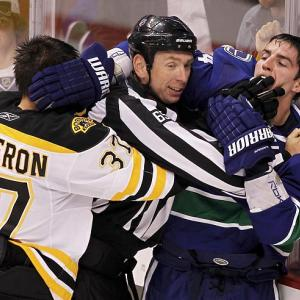 Finger food was on the menu in Game 1 of the Stanley Cup Final between the Boston Bruins and Vancouver Canucks. Vancouver's Burrows was happy to avail himself of the hearty fare...