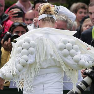 Bethanie Mattek-Sands shows off her distinctive jacket prior to Wednesday's second-round match with Japan's Misaki Doi.